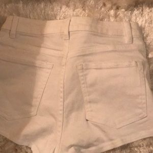 H&M Shorts - white high waisted shorts ripped in size 2